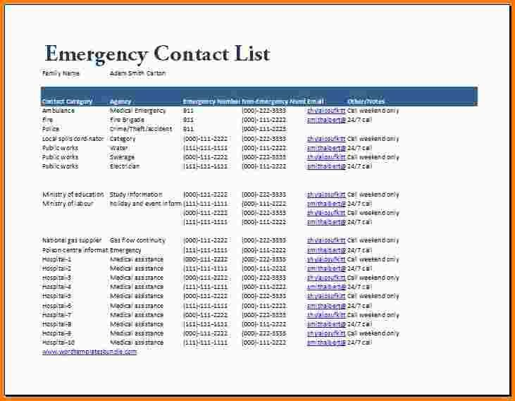 emergency contact list template listg excel generic formal word - contact list excel template