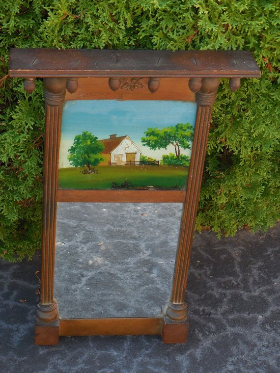Antique Framed Reverse Painting On A Mirror by Serenities on Etsy