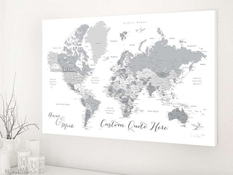 Custom quote world map canvas print grayscale world map with custom quote world map canvas print grayscale world map with cities color combination gumiabroncs Choice Image