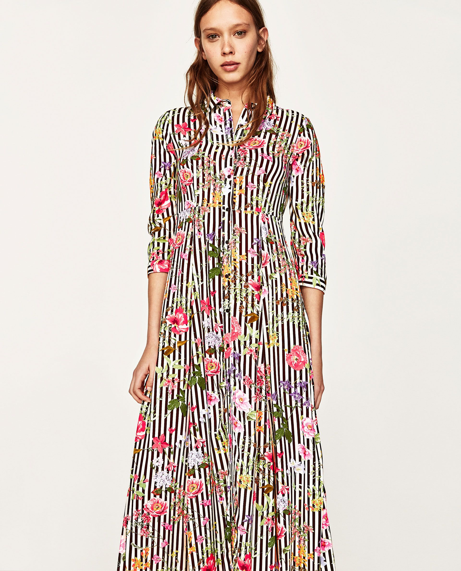 Image 3 Of Long Striped And Floral Print Dress From Zara