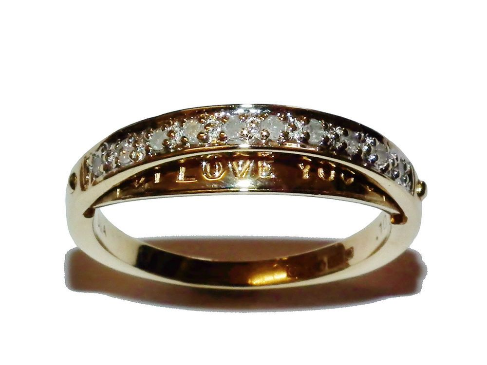 Hallmarked 9ct Yellow Gold & 0 10ct Diamond I LOVE YOU Eternity