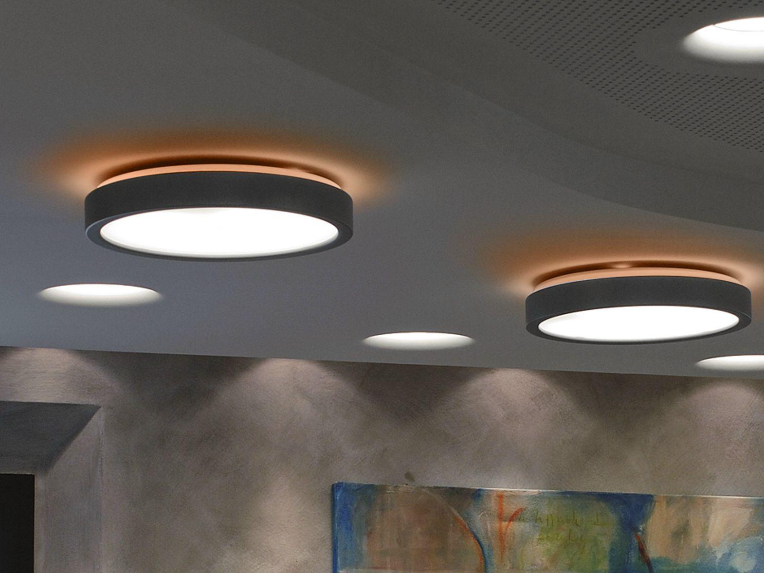 Fluorescent aluminium ceiling lamp Luna Collection by Martinelli Luce | design Emiliana Martinelli