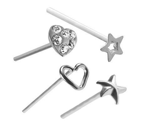 A Pack Of 4 Nose Rings Heart Star Starfish Nose Ring 22 Gauge Nose Studs 22g Bodysparkle Body Jewelry Nose Stud Heart Ring Body Jewelry