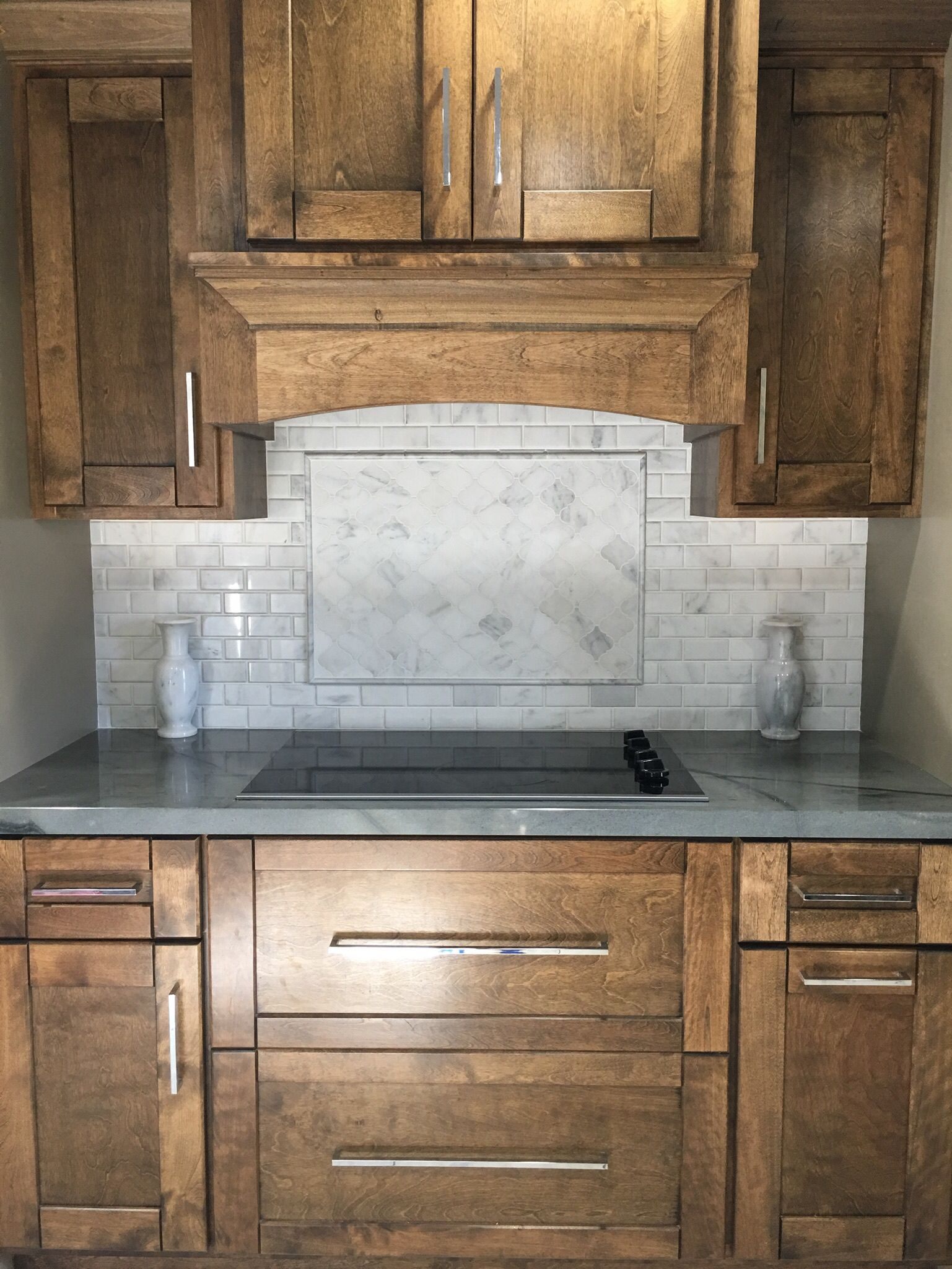 The Venato Carrara Marble Brick tiling used