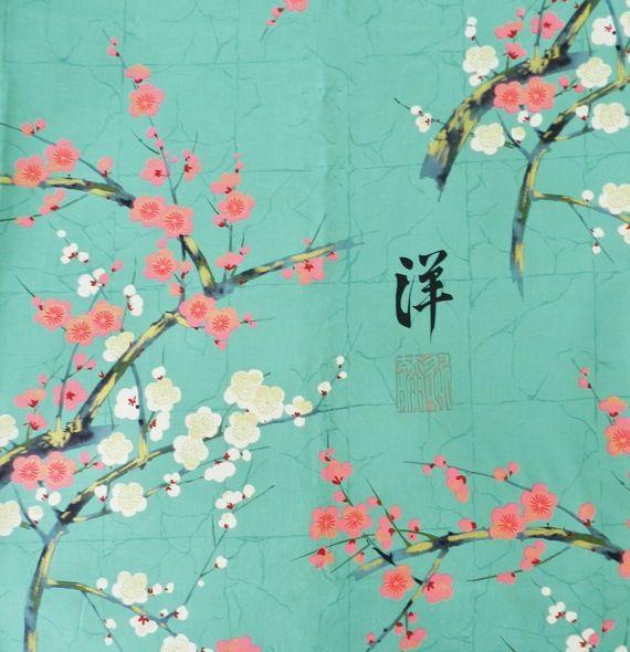 Tissu Jardin Japonais et fleurs de cerisier Alexander Henry or et turquoise  orage 20x110cm