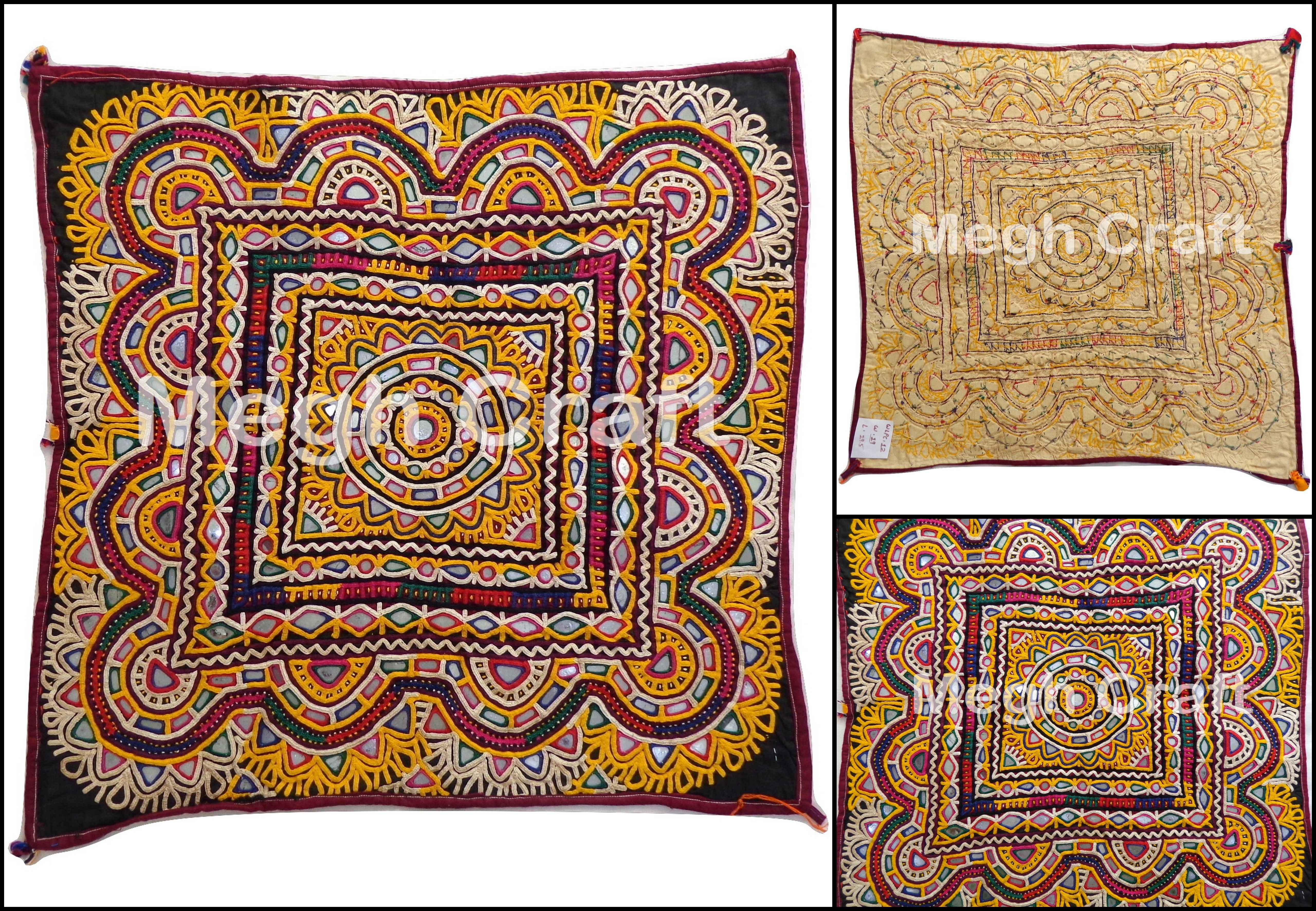 Traditional Wall Art indian embroidery work chakla/chakra - gujarat mirror work wall
