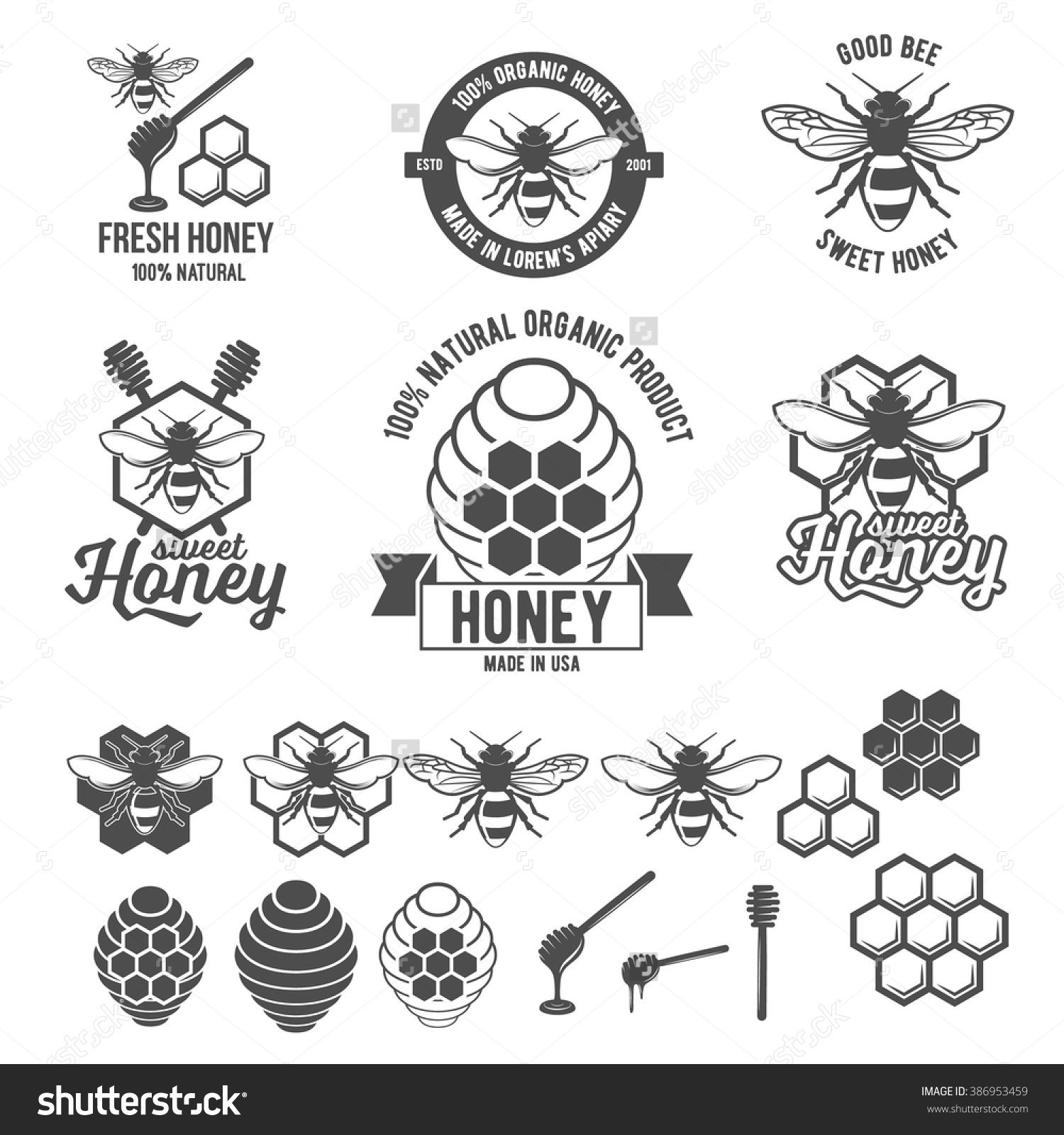 Set of vintage honey labels badges logotypes and design elements set of vintage honey labels badges logotypes and design elements apiary logo template buy this stock vector on shutterstock find other images biocorpaavc