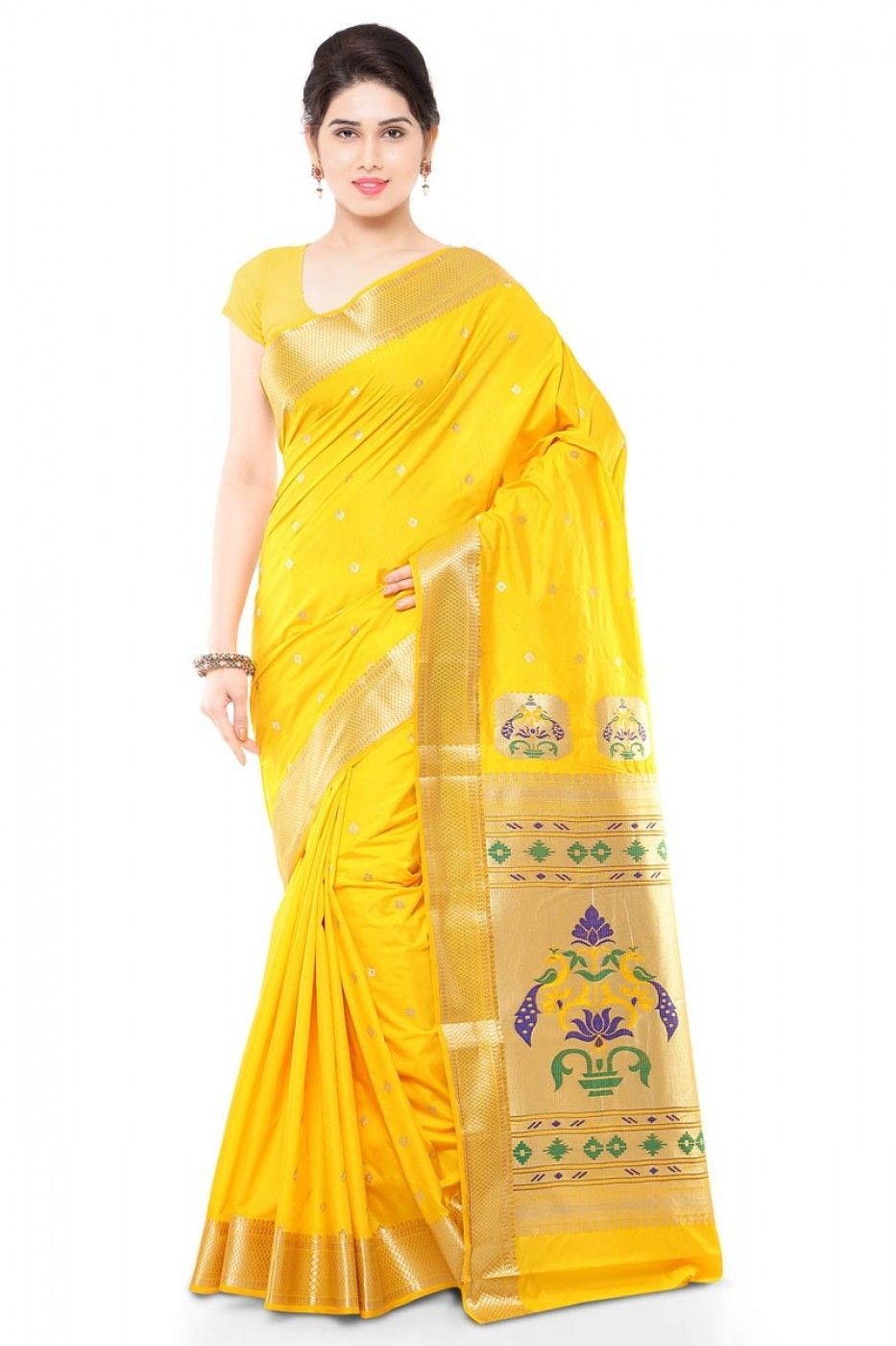 e675449acb Ceremonious #Yellow Color Party Wear #Paithani #Saree in Art Silk Fabric