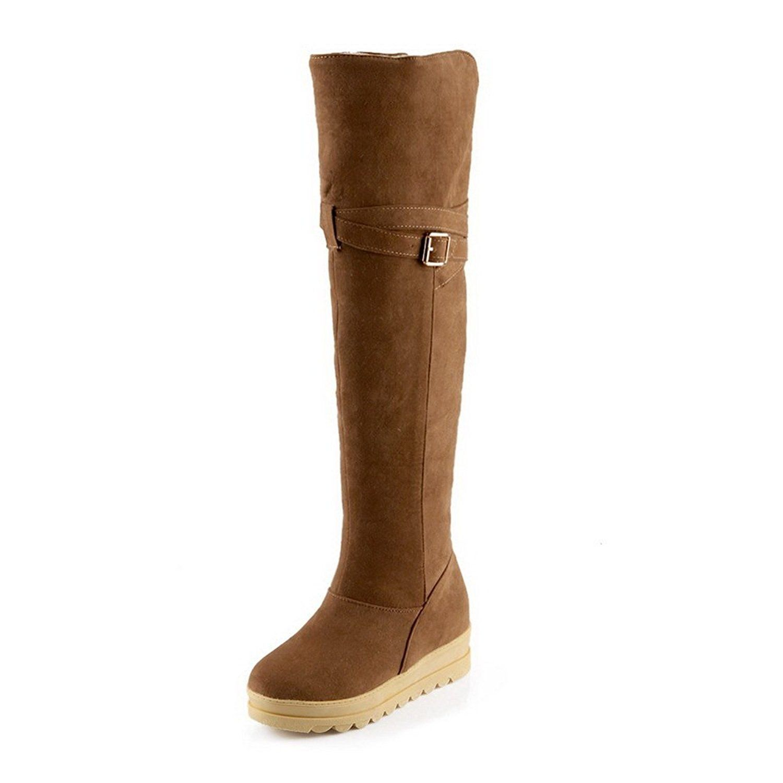Ladies Platform Heighten Inside Buckle Frosted Boots