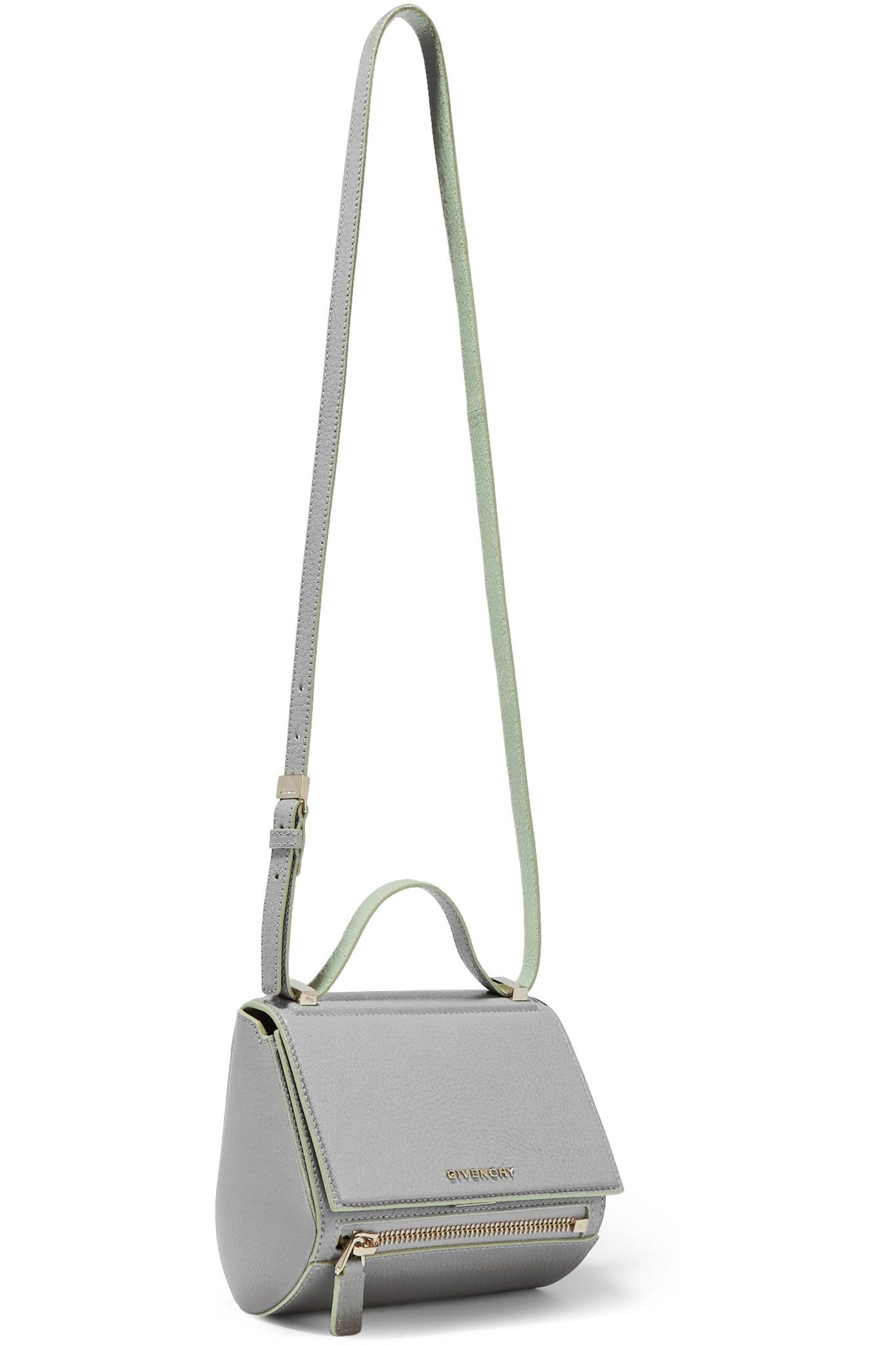3880367ab3 GIVENCHY Pandora Box shoulder bag in gray and mint textured-leather ...