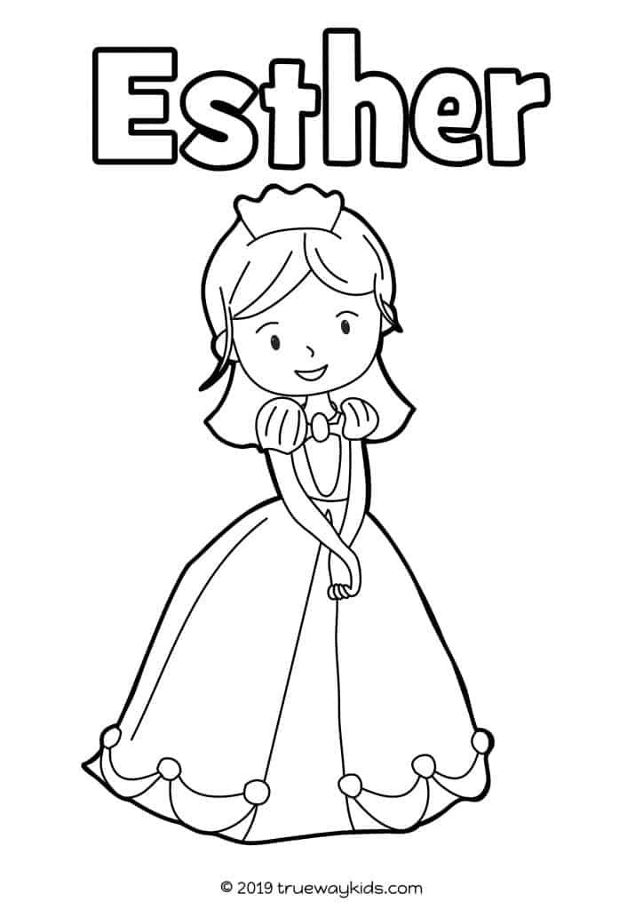 Queen Esther coloring page for children. Free to print and