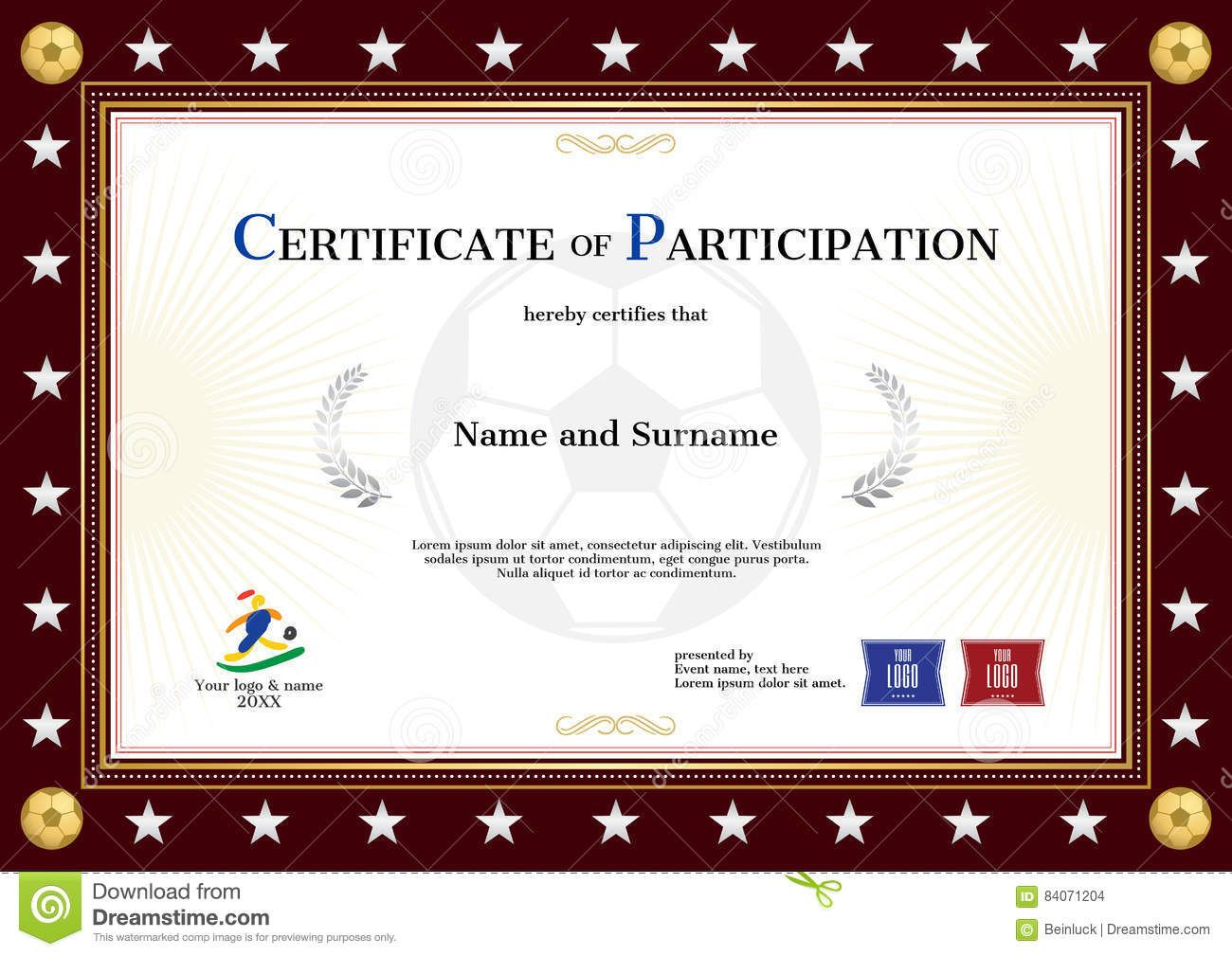 Certificate Of Participation Template In Sport Theme For Footbal