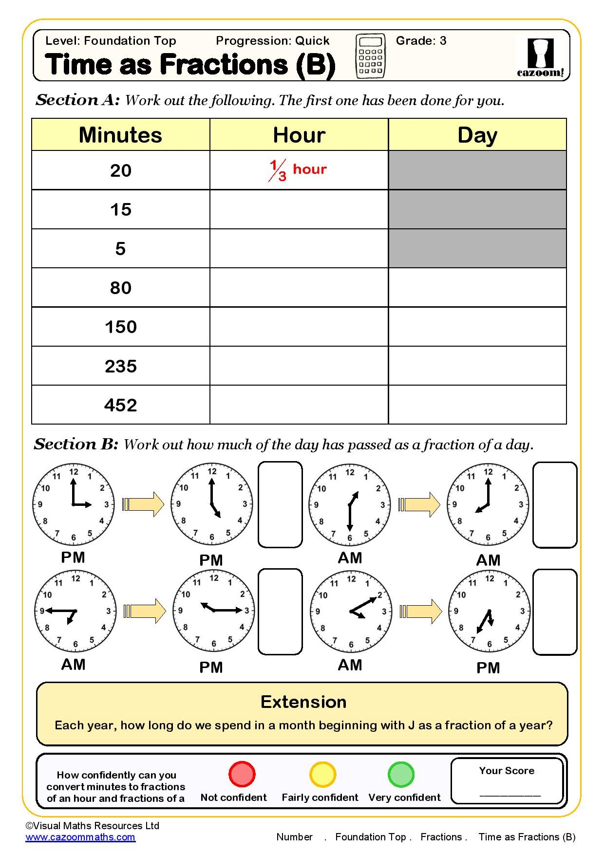 Cazoom Maths Worksheet On Time As Fractions In With