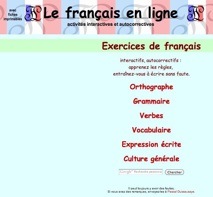 Le Francais En Ligne Exercices De Francais Exercice Francais Francais Interactif Apprendre Le Francais