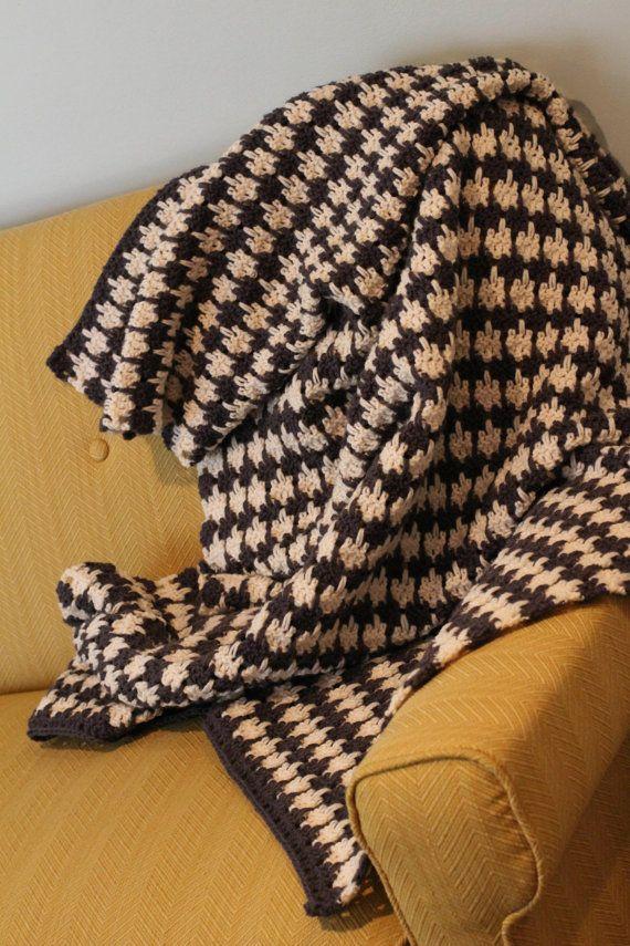 Pattern Crochet Houndstooth Blanket Afghan Throw Pattern Pdf