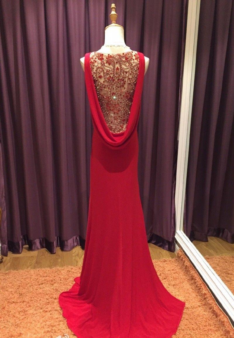 3f51761b6 Encontrar Más Vestidos de Noche Información acerca de Vestido de noche rojo  con impresionante decoración V cuello delgado largo vestido Formal  abendkleider ...