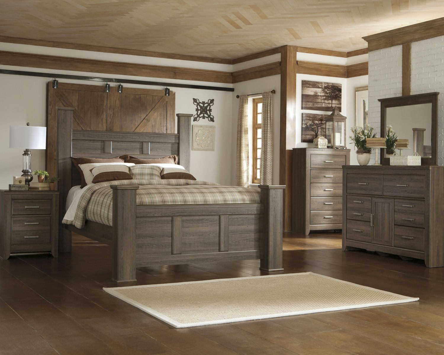 Master bedroom with 4 poster bed  Santa Cruz Queen Poster Bedroom Suite  HOM Furniture  Remodeling
