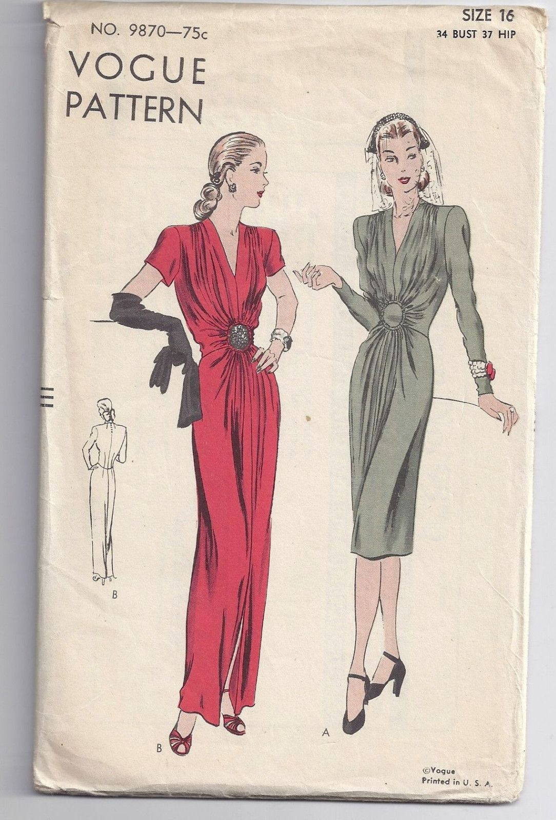 Vintage s vogue pattern sexy shirred evening gown party
