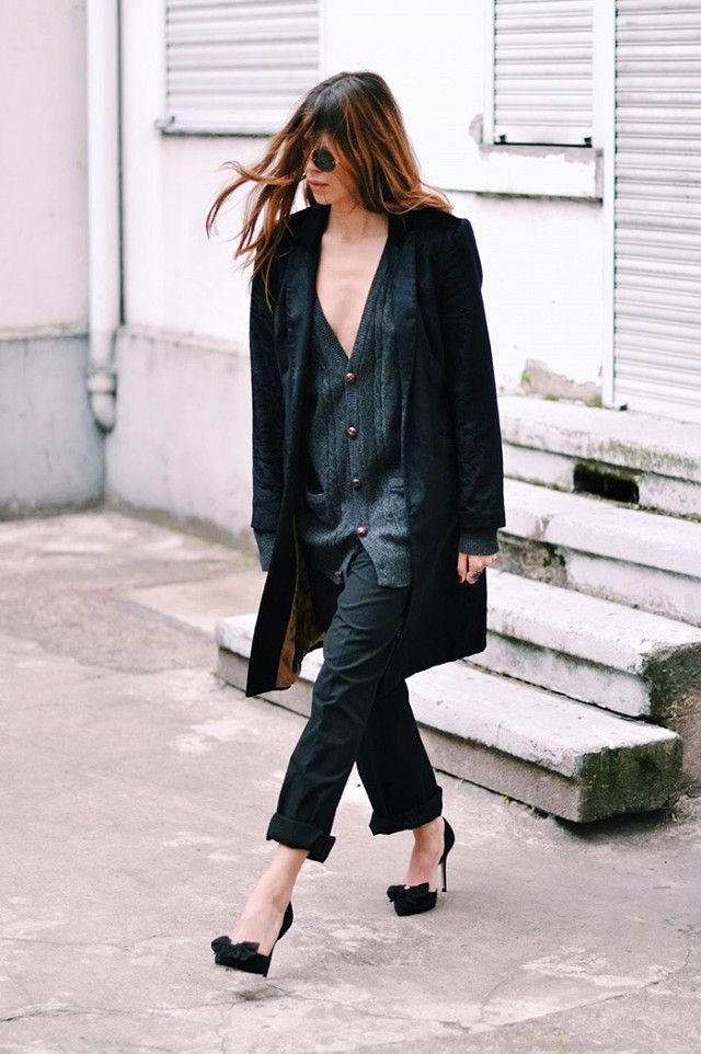 Oversized wool jumper, Marangano black trousers, flats with Pom Pom by Asos, black coat by Patrizia Pepe.