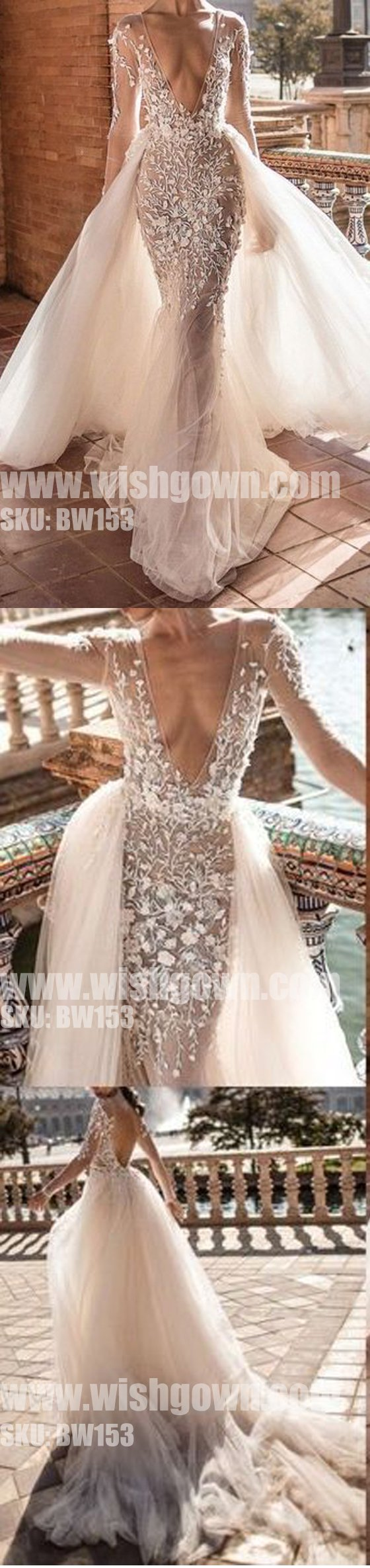 Sexy deep v neck long sleeves open back mermaid long wedding dresses