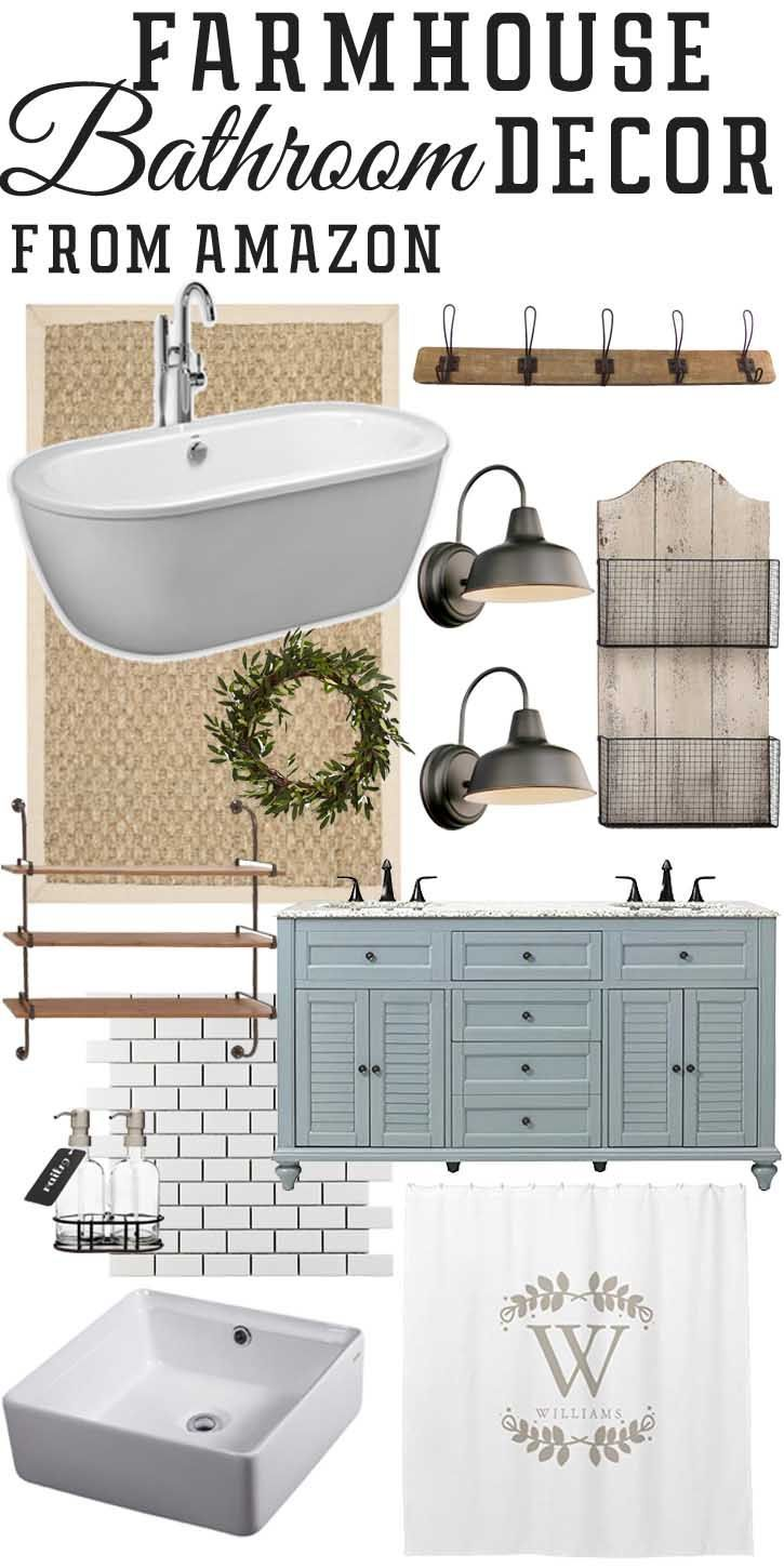 Farmhouse Style Guest Bathroom. Sea Salt (blue / gray) by