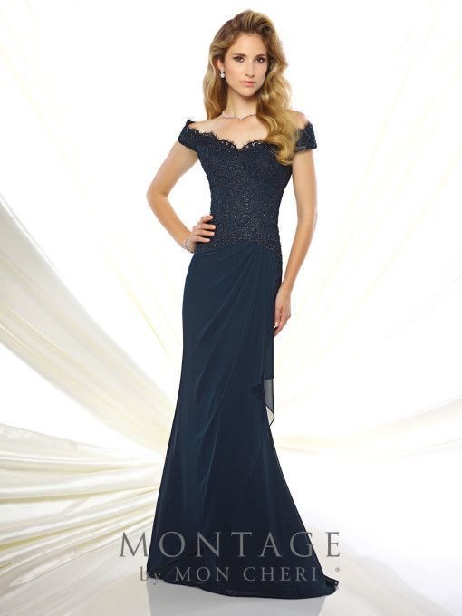 Off The Shoulder Chiffon And Lace Fit Flare Gown Hand Beaded Bodice With Dropped Waist Side D Skirt Sweep Train