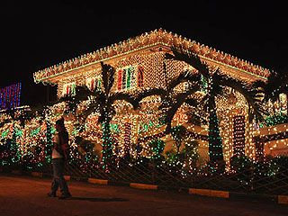 House In The Philippines Adorned With Christmas Lights Decor And Parols