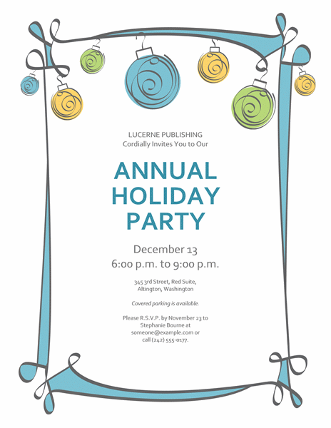 holiday party invitation with blue, green, and yellow ornaments, Birthday invitations