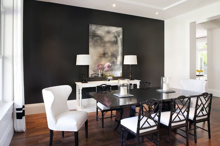 Table Lined With Black Bamboo Dining Chairs Against A Dramatic Amazing Dining Room Accent Wall Colors Design Decoration