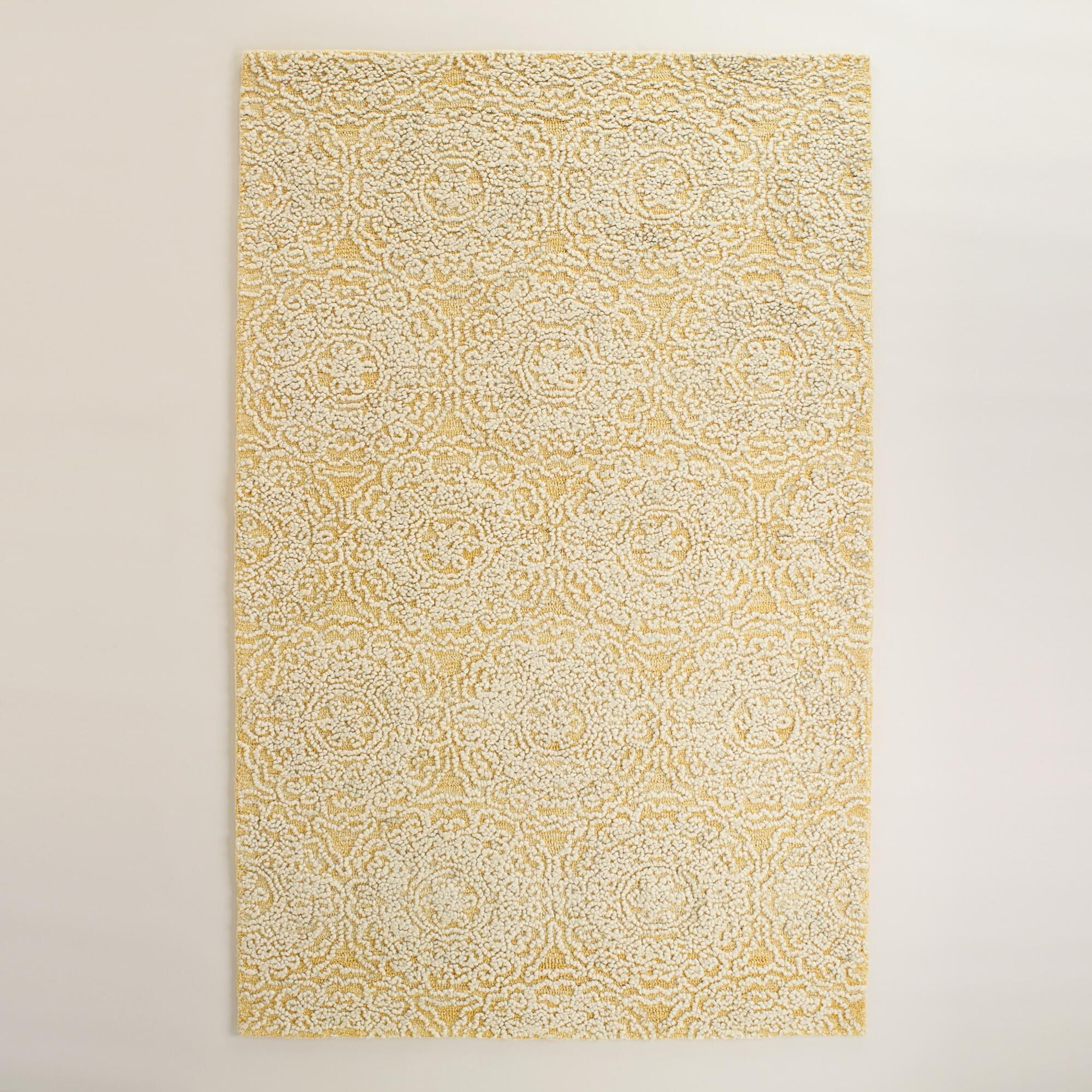 Yellow And Ivory Floral Tufted Wool Simone Area Rug Area Rugs Rugs Tufted