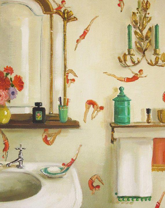 Divers. Art Print hill, Bathroom wallpaper, Decor