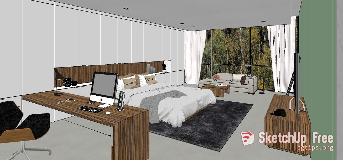 1672 Interior Bedroom Scene Sketchup Model Free Download 3d