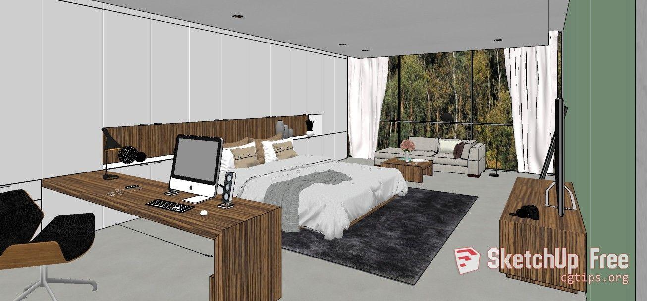 1672 Interior Bedroom Scene Sketchup Model Free Download Bedroom
