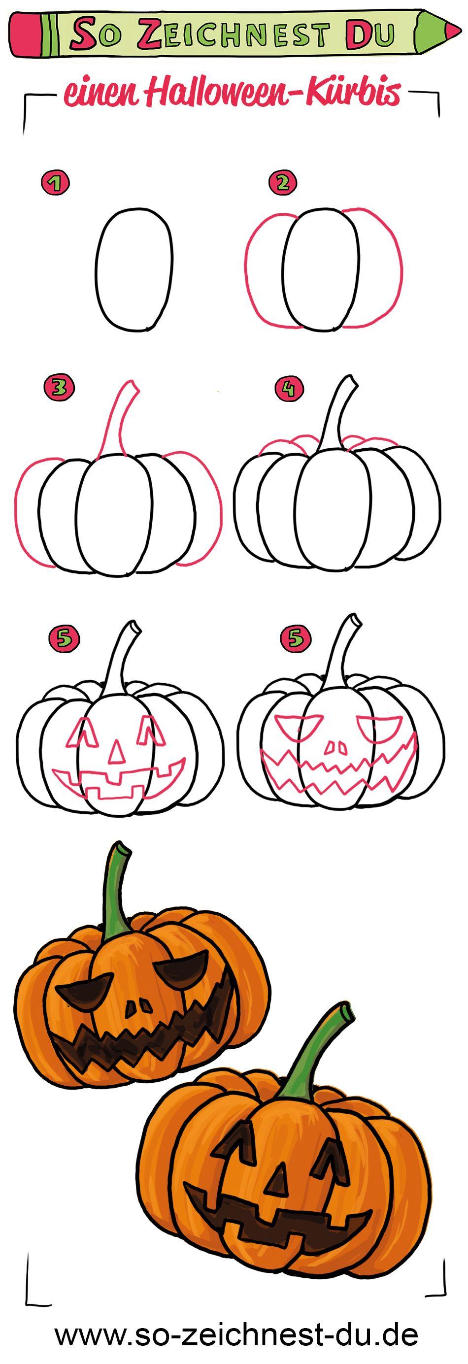 So Zeichnest Du Einen Halloween Kurbis Zeichnen Lernen Fur Kinder Zeichnen Lernen Kurbis Malen