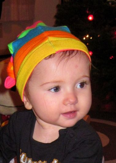Socks into baby hat.  BAM.