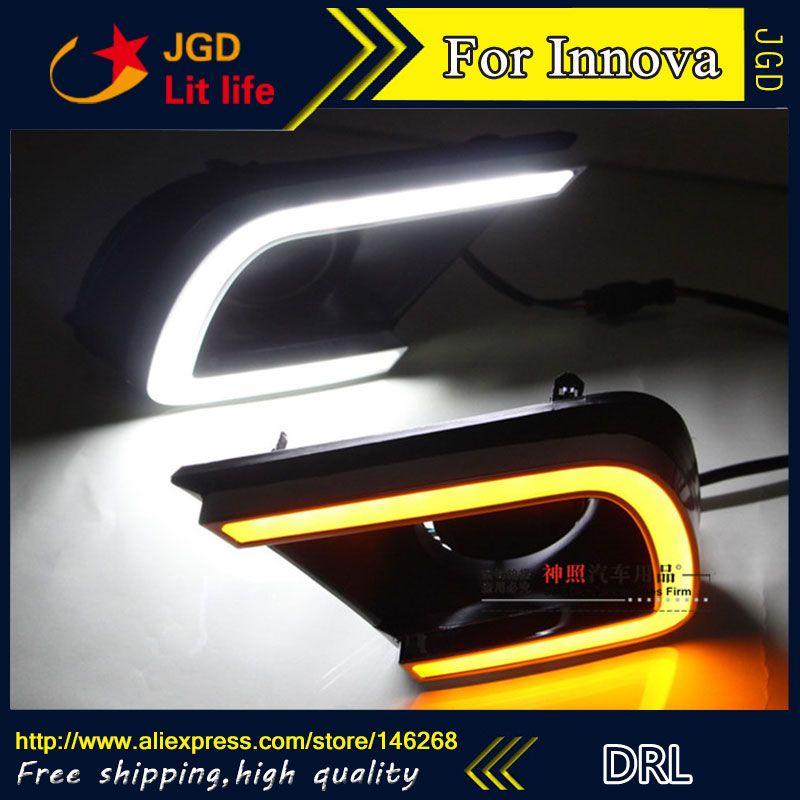 Free Shipping 12v 6000k Led Drl Daytime Running Light For Toyota Innova 2014 2015 Fog Lamp Frame Fog Light Toyota Innova Running Lights Light Of Life