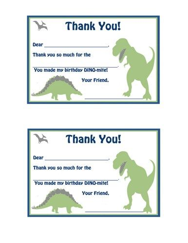 Fill In The Blank Thank You Notes Printable Dinosaur Google Search Thank You Notes Dinosaur Birthday Party Its My Birthday