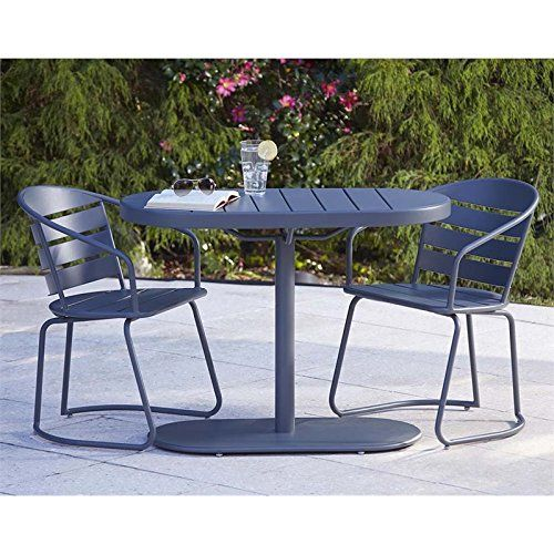Cheap Cosco Outdoor 3 Piece Metro Retro Nesting Bistro Steel Patio Furniture  Set Assembled Gray Https