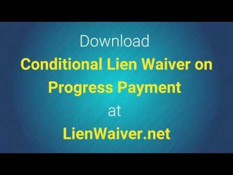 Conditional Lien Waiver On Progress Payment  Legal Waiver Form