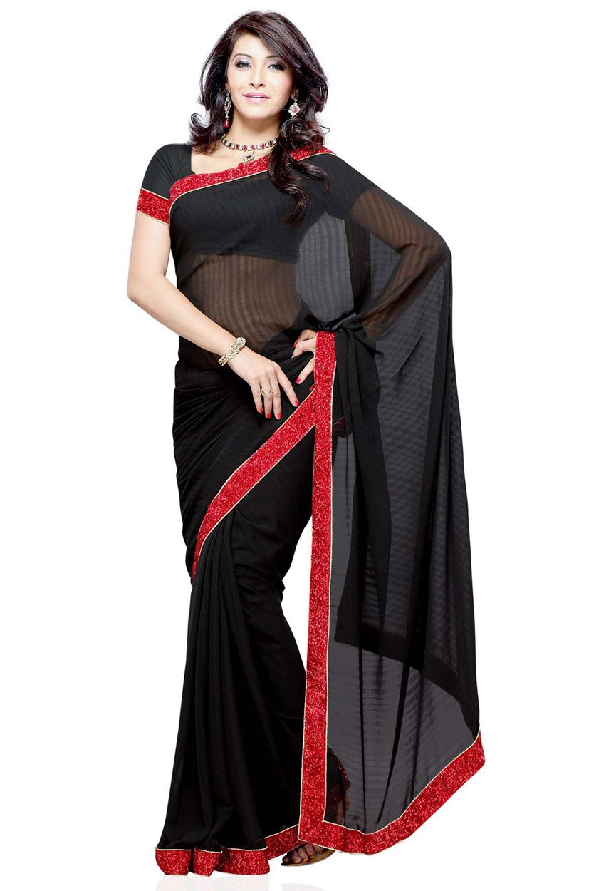 Black Faux Georgette Saree with Blouse Online Shopping SWY2607A