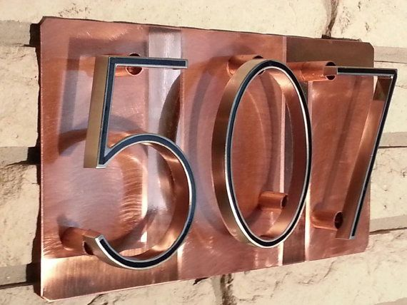 Copper art house numbers address sign or business by J2Kmetal