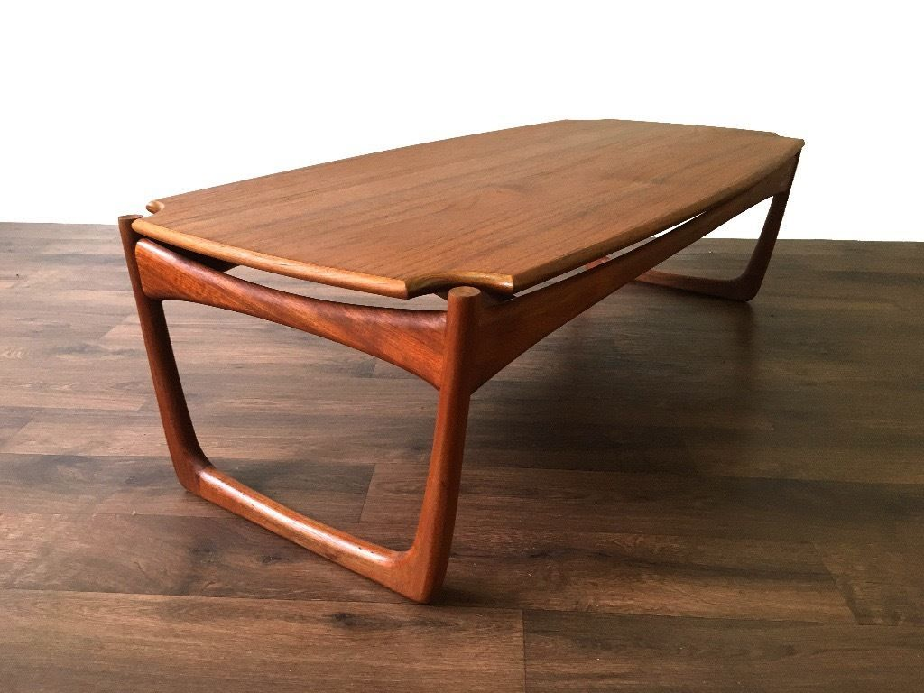 Retro Scandinavian Teak Coffee Side Table Vintage Mid