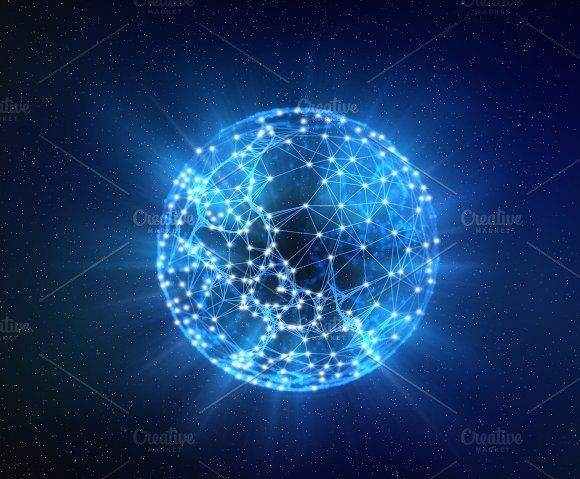Planet earth, Internet Concept of global business isolated on white, connection symbols communication lines by Tampatra on @creativemarket