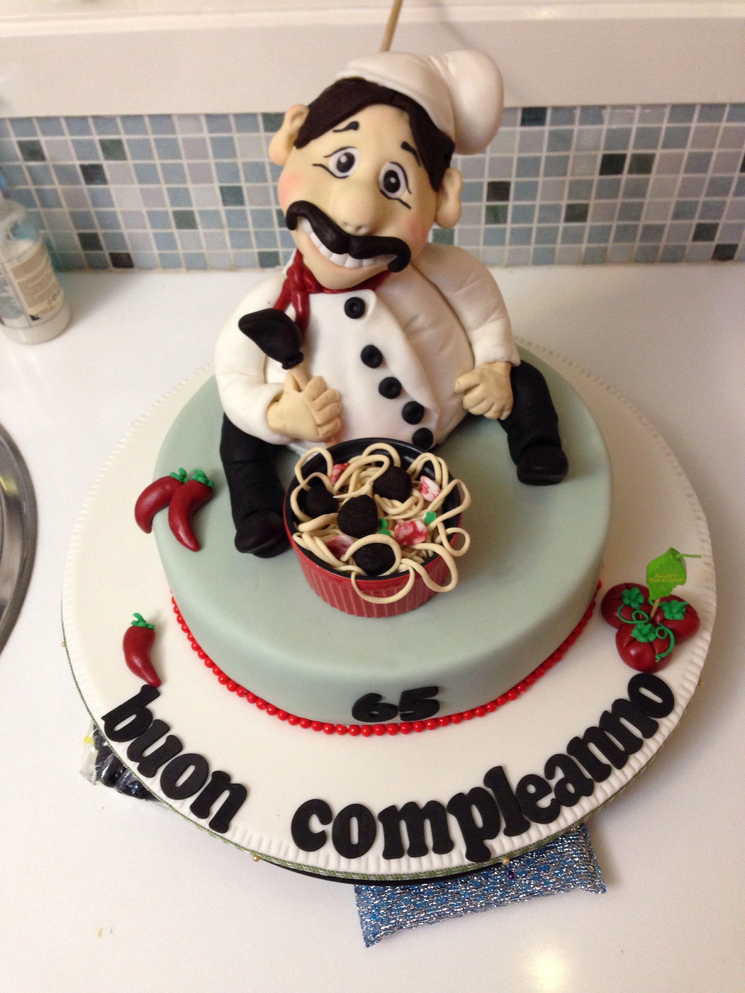 Italian chef birthday celebration cake italian themed