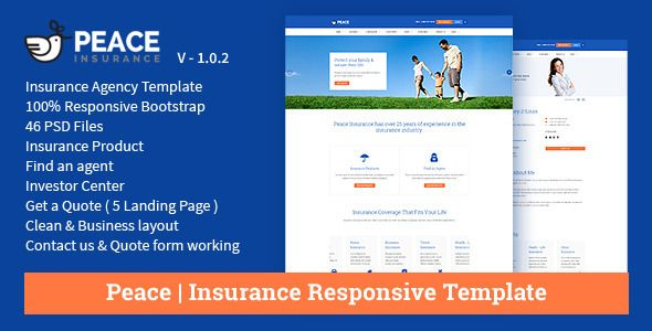 insurance agency templates  Peace – Insurance Responsive HTML Template. . Peace is an insurance ...