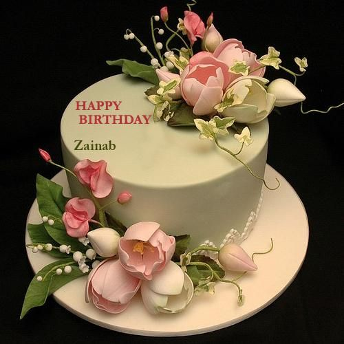 Write Your Name On Flower Decorated Cake With Namepic Zainab