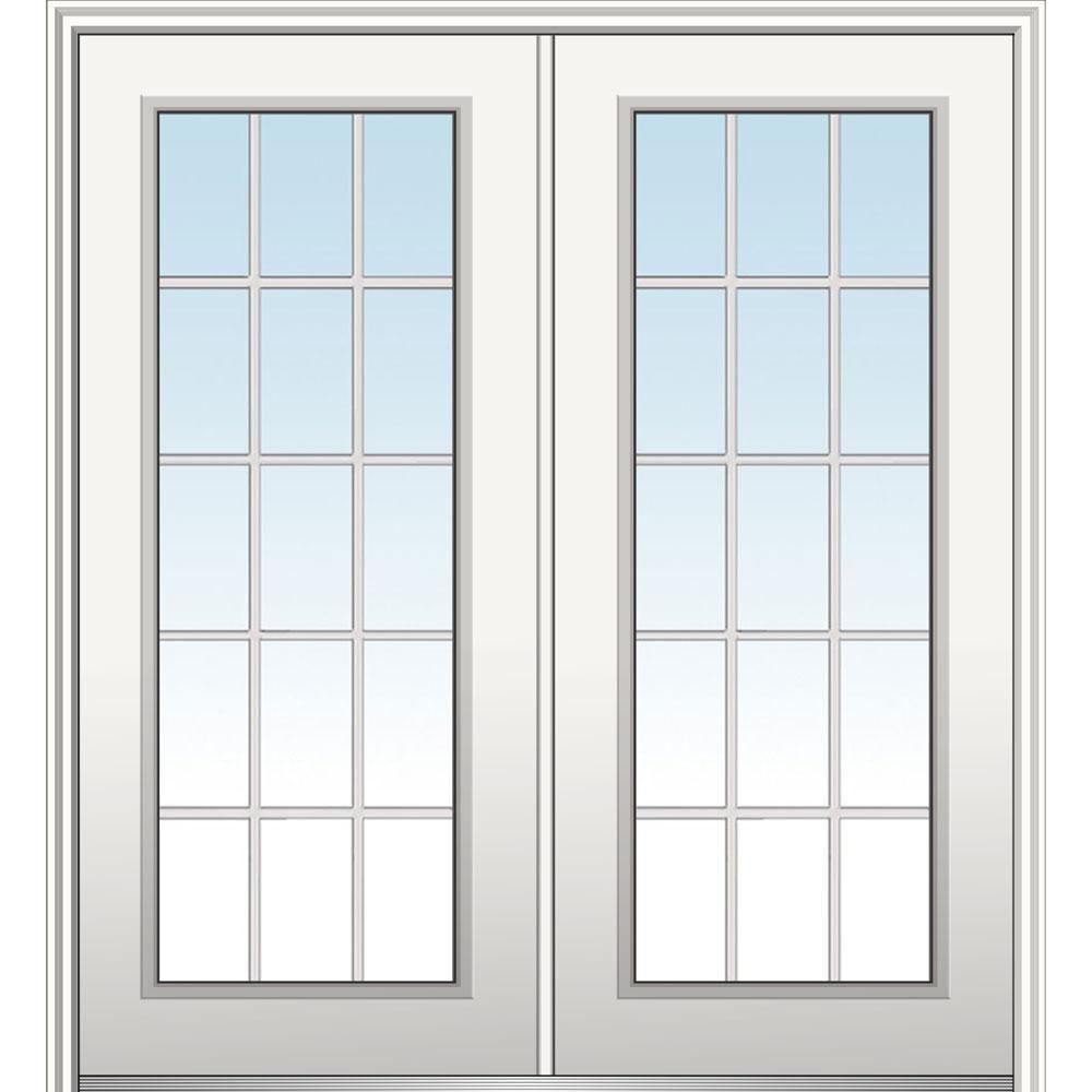 Mmi Door 72 In X 80 In Classic Right Hand Inswing 15 Lite Clear Primed Fiberglass Smooth Prehung Front Door With Brickmould Z029491r Mmi Door Front Door Prehung Doors