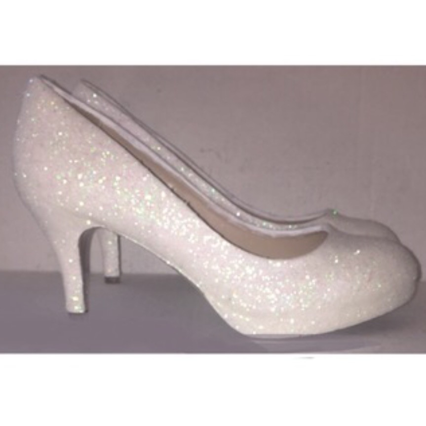 0fd100354a Women's Sparkly White or Ivory Heels Glitter high & low Heels Stiletto shoes  wedding bride Glitter Shoe Co