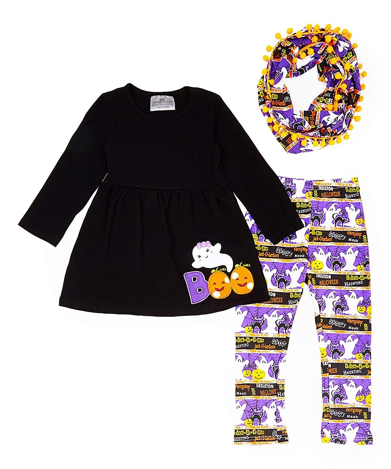 Pumpkin Ghost Spider Tunic Leggings w Infinity Scarf Boutique Girls Halloween Outfit Set
