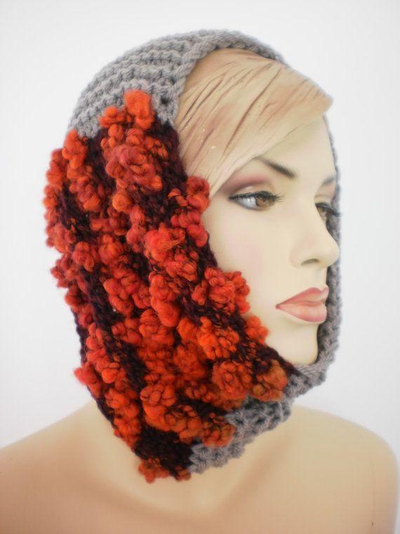 Caduta di moda mano maglia cappuccio sciarpa di levintovich